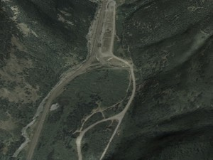 3D View of terrain of railroad yard