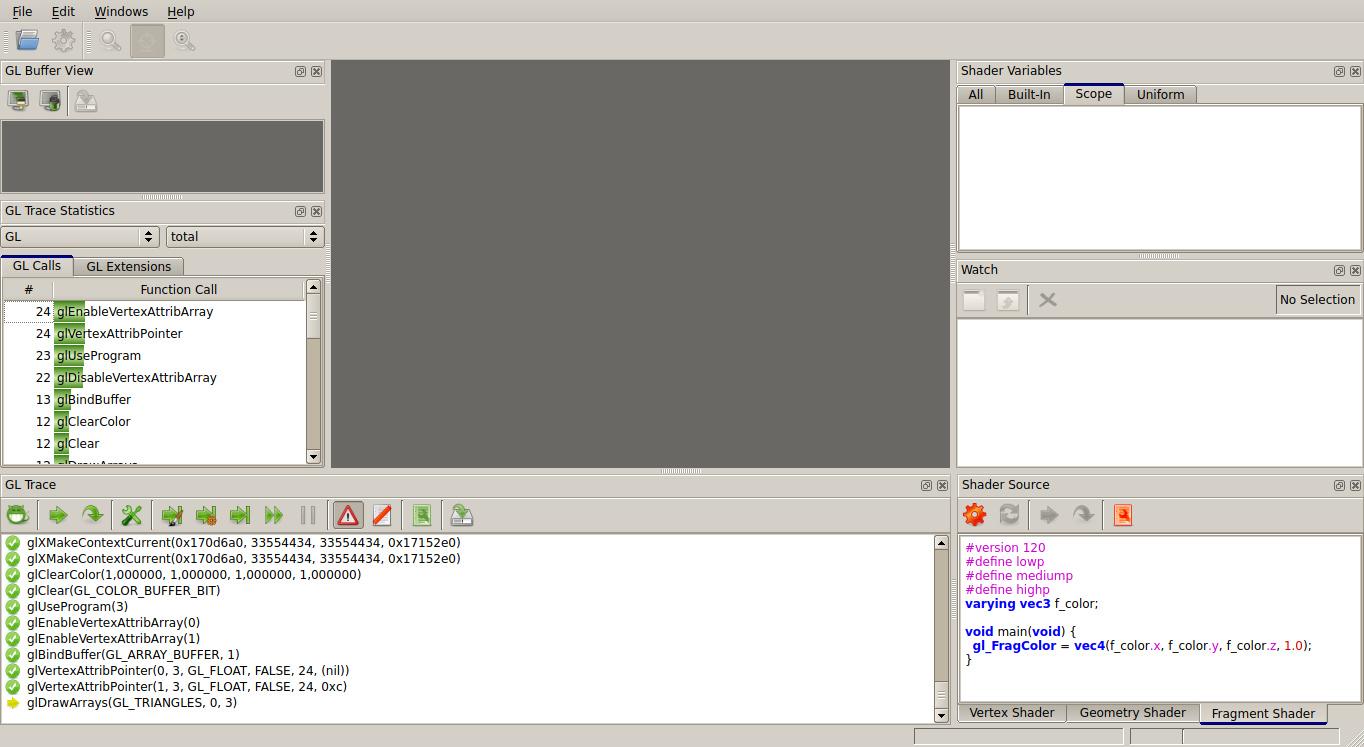 Screenshot of glslDebugger