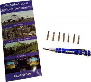 AlphaPixel IITSEC brochure and free promotional multi-screwdriver
